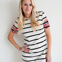 Floral Sleeve Stripe Tunic/Dress
