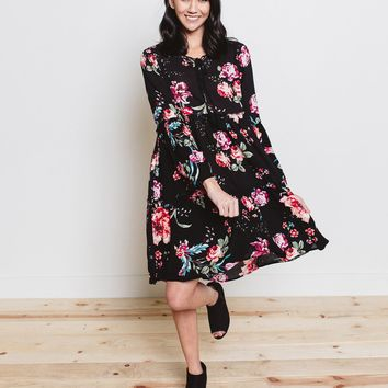 Danika Bell Sleeve Floral Tunic Dress