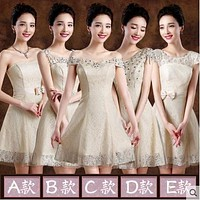 Short Prom dress champagne 2017 for women with bow crystal one shoulder a line elegant formal gowns cute Korean fashion style