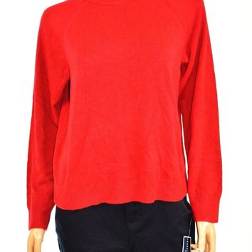 Karen Scott Women Mock Neck Red Knit Sweater Top Petites L