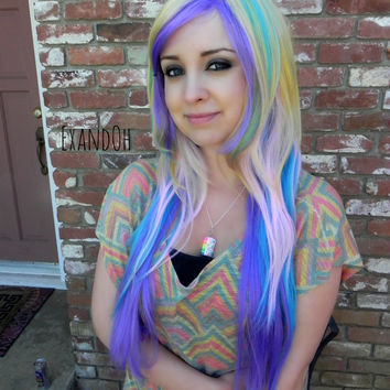 BLACK FRIDAY SALE // Long Straight Layered Wig - Pastel Wig, Cosplay Wig, LolitaWig, Light Rainbow, Hipster, My Little Pony