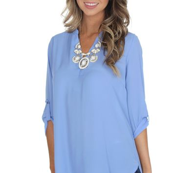 Classic V-Neck Blouse Periwinkle