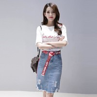 Sexy Off Shoulder T Shirt + Denim hole Bodycon Skirt Sets 2019 New Summer Fashion Elegant 2 Piece Set Women stripe Skirts Suits