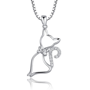 Sterling Silver Cat W. Bow Tie and Cubic Zirconia Pendant Necklace