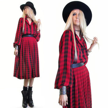 red plaid dress vintage 80s dress scotch plaid tartan plaid red black plaid shadow plaid secretary dress plaid pleated skirt goth grunge m l