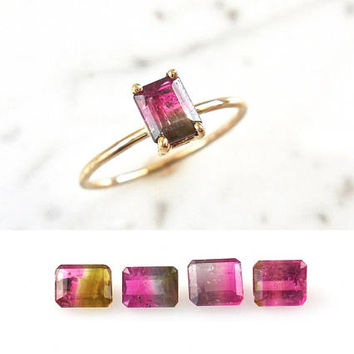 Custom Tourmaline Ring - Watermelon Tourmaline Ring, Handmade, Delicate, 14k Gold, Watermelon Tourmaline, Solitaire Tourmaline Ring