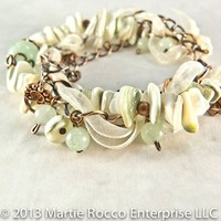 Shell, Aventurine, antiqued copper multi-strand bracelet. 462BR