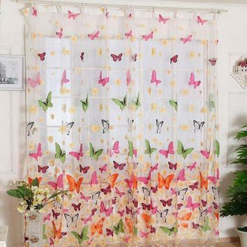 VONFC9 Super Deal Hot!Butterfly Print Sheer Window Panel Curtains Room Divider New For Living Room Bedroom Girl 200X100CM XT