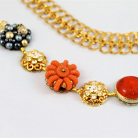 Vintage orange cluster earring bracelet navy gold rhinestones pearls shabby chic one-of-a-kind bridal chunky retro 50/60's Gatbsy repurposed