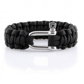 VONL8T outdoor camping home survival portable first aid camping parachute cord survival bracelet U-shaped steel buckle safety rope