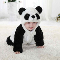 Free Shipping 2015 New Cute Animal Panda One Piece Long Sleeve Cotton Newborn Baby Romper Baby Costume Clothing Clothes