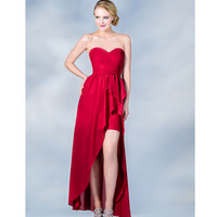 2014 Prom Dresses - Red High-Low Strapless Chiffon Prom Dress