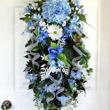 Wreath swag, Spring Summer wreath, Blue wreath, hydrangea wreath, designer wreath, Summer door, Spring Summer decor, cottage wreath, Blue