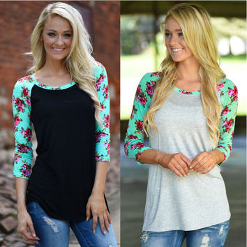 Patchwork Tops Autumn Stylish Floral Print Long Sleeve T-shirts [9307391172]