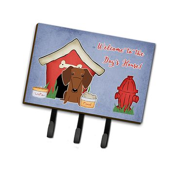 Dog House Collection Dachshund Red Brown Leash or Key Holder