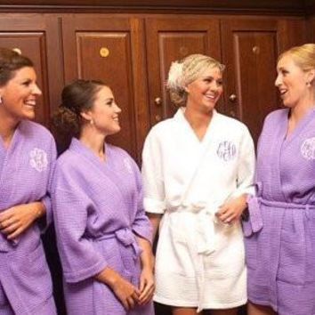 Monogrammed robe, bridesmaid gift robes, wedding party robes, homeymoon robe, personalized, embroidered, bridal shower gift, waffle weave