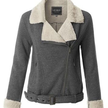 LE3NO Womens Cozy Fleece Moto Zip Up Jacket with Belt