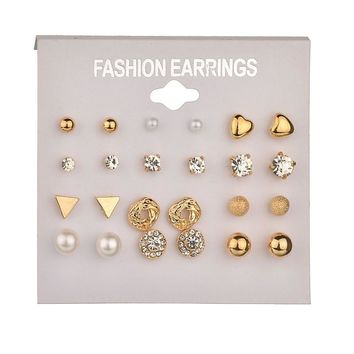 2018 Fashion 12 pair/set Women Gold Chain Square Crystal Heart Stud Earrings for Women Piercing Simulated Pearl Flower Earrings