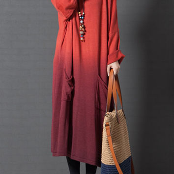 Red sweater dress, gradient dress, plus size sweater dress, maxi dress, long sweater, loose dress, long sleeve dress (ESR113)