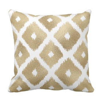 Gold Foil (Faux) Ikat Style on White Throw Pillow