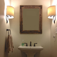 24x30 Reclaimed Wood Bathroom Mirror - Rustic Modern Home Decor - Eco Friendly