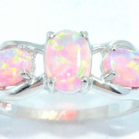 2 Carat Pink Opal Oval Ring .925 Sterling Silver Rhodium Finish White Gold Quality