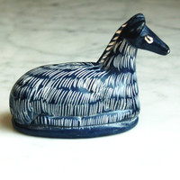Llama Soapstone Figurine / Blue & White Paperweight / Hand Painted / Home Office Decor