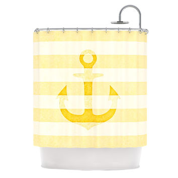 "Monika Strigel ""Stone Vintage Anchor Yellow"" Mustard White Shower Curtain"