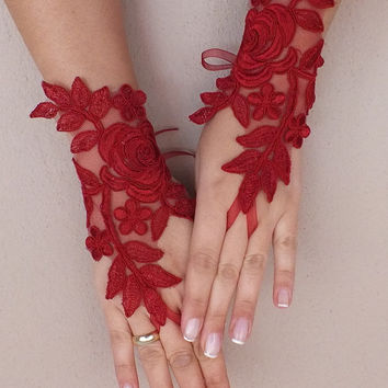 Burgundy  lace gloves  Wedding gloves free ship  red rose bridal gloves fingerless lace gloves french lace gloves free ship