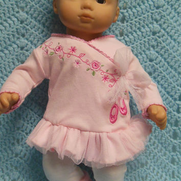"AMERICAN GIRL Bitty Baby Clothes ""Ballet Bebé"" (15 inch) doll outfit  dress, leggings, booties socks, and headband ballet shoes"