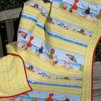 Beach Crib Quilt, Nursery Bedding, Baby Quilt