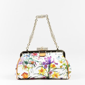 Gucci Multicolor Satin Floral Karung Trim Swarovski Crystal Bag