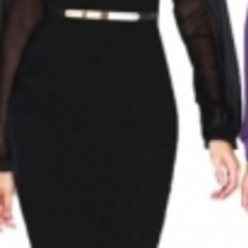 Women Black Pencil Dress with Gold Belt and Sheer Sleeves