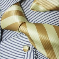 Khaki Stripes Silk Tie Hanky Neck Tie for Him Cufflinks for Men Gift Box PH1004 148*9CM