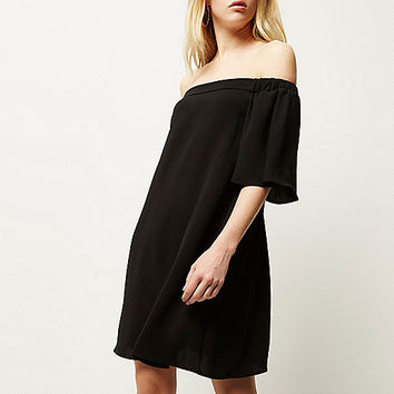 Black bardot swing dress - bardot / bandeau dresses - dresses - women