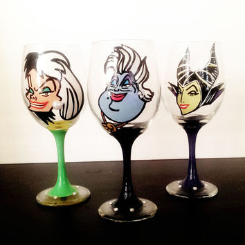 disney villain Wine glasses - set of 3 - pearls and rhinestones - 20 oz