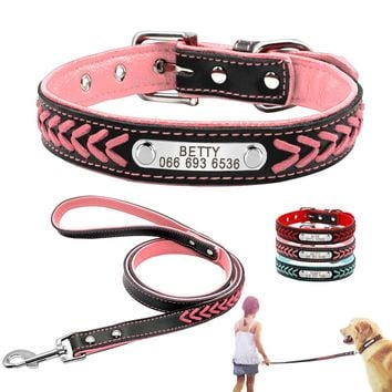 Personalized Leather Dog Collar and Leash Set Inner Padded Customized Engraved ID Dog Cat Collar Braided Rope Free Engraving