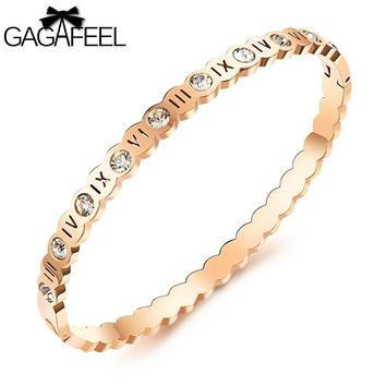 GAGAFEEL Lucky Roman numerals Women Bracelets&Bangles Stainless Steel Rose Gold Color Square Charm Jewelry for Girls Friends