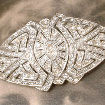 1920s Duette Brooch, HAIR Comb, or Dress Clips, Large Authentic 1930s Vintage Art Deco Rhinestone Bridal Sash Pin Accessory / Hairpiece