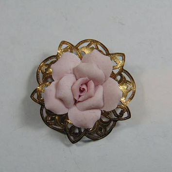 Gold and Pink Porcelain Rose Brooch Vintage Costume Jewelry