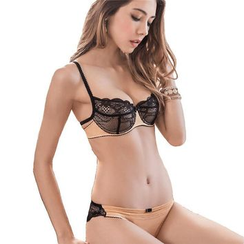 Fashion Lingerie Set For Women Thin Cotton Cup Transparent Bra And Panty Sets Lace Embroidery Floral Sexy Underwear Set Black