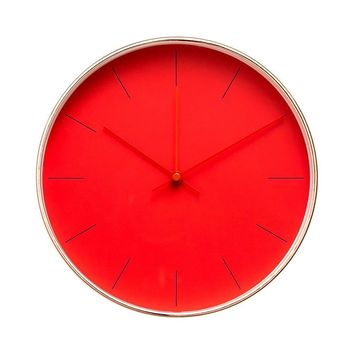 """Minimalist Design Contemporary Cream Palette 9.5"""" Non-Ticking Silent Wall Clock with Rose Gold Frame (Strawberry)"""