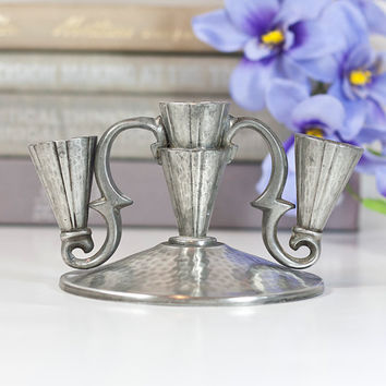 Pewter Modern Danish Candelabra: Vintage Pewter Candle Holder, Metal Candlestick, Home Decor Centerpiece, Small Candelabra, Denmark