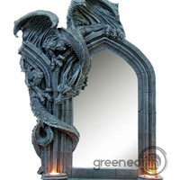 Green Earth Stores | 00211464310 - Dragon Mirror with Double T-Lite Holder 30""