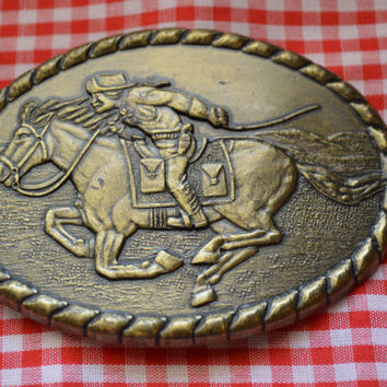 Pony Express Rider Belt Buckle Mervyn's  1981 Commemorative Vintage Belt Buckl