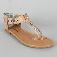 City Classified Go-S Two Tone Jeweled Knotted T-Strap Flat Sandal