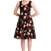Hell Bunny Gothic Beautiful Dark Side Queen Skull & Rose Flare Party Dress