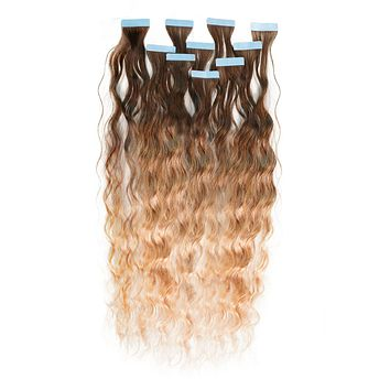 Curly Ombré Tape-In Hair Extensions - Caramel Brown (#4) to Honey Blonde (#27)