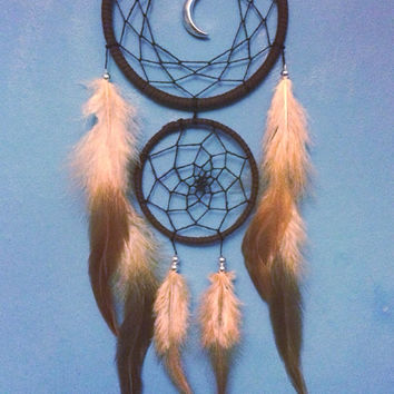 Brown faux suede trim double dream catcher, black web and silver moon charm finish 10cm & 7cm diameter dreamcatcher hand made