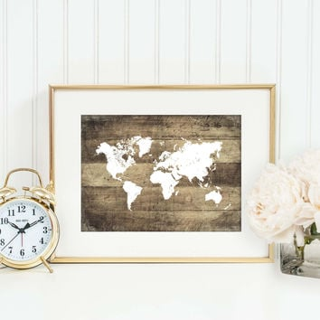 Rustic Map Art Print, World Map Print, Faux Wood Print, Travel Themed Nursery Print, Cabin Decor, Primitive Decor, Office Decor, P-008